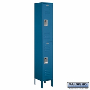 "12"" Standard Metal Locker - Double Tier - 1 Wide - 6 Feet High - 18 Inches Deep - Gray, Tan or Blue"