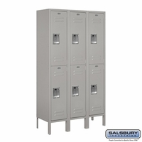 "12"" Standard Metal Locker - Double Tier - 3 Wide - 5 Feet High - 15 Inches Deep - Gray, Tan or Blue"