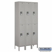 "12"" Standard Metal Locker - Double Tier - 3 Wide - 6 Feet High - 12 Inches Deep - Gray, Tan or Blue"