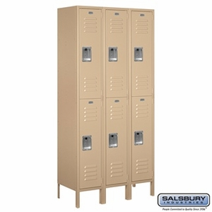 "12"" Standard Metal Locker - Double Tier - 3 Wide - 6 Feet High - 15 Inches Deep - Gray, Tan or Blue"