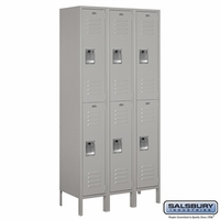 "12"" Standard Metal Locker - Double Tier - 3 Wide - 6 Feet High - 18 Inches Deep - Gray, Tan or Blue"