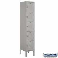 "12"" Standard Metal Locker - Five Tier Box Style - 1 Wide - 5 Feet High - 15 Inches Deep - Gray, Tan or Blue"