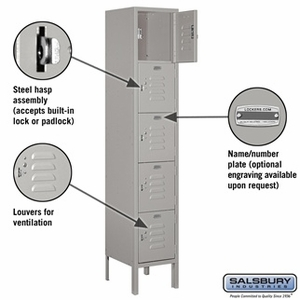 "12"" Standard Metal Locker - Five Tier Box Style - 1 Wide - 5 Feet High - 18 Inches Deep - Gray, Tan or Blue"