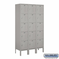 "12"" Standard Metal Locker - Five Tier Box Style - 3 Wide - 5 Feet High - 18 Inches Deep - Gray, Tan or Blue"