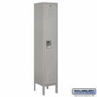 "12"" Standard Metal Locker - Single Tier - 1 Wide - 5 Feet High - 15 Inches Deep - Gray, Tan or Blue"