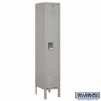 "12"" Standard Metal Locker - Single Tier - 1 Wide - 5 Feet High - 18 Inches Deep - Gray, Tan or Blue"