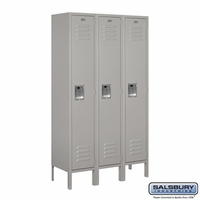 "12"" Standard Metal Locker - Single Tier - 3 Wide - 5 Feet High - 12 Inches Deep - Gray, Tan or Blue"