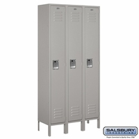 "12"" Standard Metal Locker - Single Tier - 3 Wide - 6 Feet High - 15 Inches Deep - Gray, Tan or Blue"