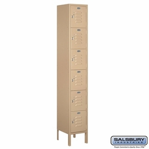 "12"" Standard Metal Locker - Six Tier Box Style - 1 Wide - 6 Feet High - 12 Inches Deep - Gray, Tan or Blue"