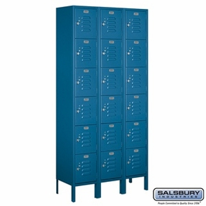 "12"" Standard Metal Locker - Six Tier Box Style - 3 Wide - 6 Feet High - 15 Inches Deep - Gray, Tan or Blue"