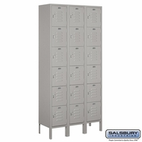 "12"" Standard Metal Locker - Six Tier Box Style - 3 Wide - 6 Feet High - 18 Inches Deep - Gray, Tan or Blue"