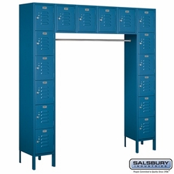 "12"" Standard Metal Locker - Six Tier Box Style Bridge - 16 Box - 18 Inches Deep - Blue"