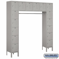 "12"" Standard Metal Locker - Six Tier Box Style Bridge - 16 Box - 18 Inches Deep - Gray"