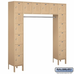 "12"" Standard Metal Locker - Six Tier Box Style Bridge - 16 Box - 18 Inches Deep - Tan"