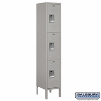 "12"" Standard Metal Locker - Triple Tier - 1 Wide - 5 Feet High - 15 Inches Deep - Gray, Tan or Blue"