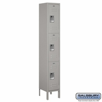 "12"" Standard Metal Locker - Triple Tier - 1 Wide - 6 Feet High - 15 Inches Deep - Gray, Tan or Blue"