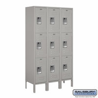"12"" Standard Metal Locker - Triple Tier - 3 Wide - 5 Feet High - 15 Inches Deep - Gray, Tan or Blue"