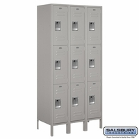 "12"" Standard Metal Locker - Triple Tier - 3 Wide - 6 Feet High - 15 Inches Deep - Gray, Tan or Blue"