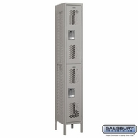 "12"" Vented Metal Locker - Double Tier - 1 Wide - 6 Feet High - 12 Inches Deep - Gray, Tan or Blue"