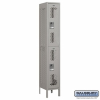 "12"" Vented Metal Locker - Double Tier - 1 Wide - 6 Feet High - 15 Inches Deep - Gray, Tan or Blue"