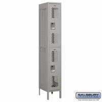 "12"" Vented Metal Locker - Double Tier - 1 Wide - 6 Feet High - 18 Inches Deep - Gray, Tan or Blue"