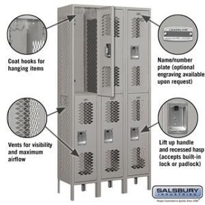 "12"" Vented Metal Locker - Double Tier - 3 Wide - 6 Feet High - 12 Inches Deep - Gray, Tan or Blue"