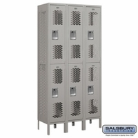 "12"" Vented Metal Locker - Double Tier - 3 Wide - 6 Feet High - 15 Inches Deep - Gray, Tan or Blue"