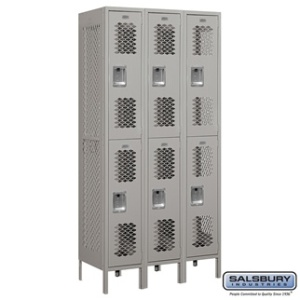 "12"" Vented Metal Locker - Double Tier - 3 Wide - 6 Feet High - 18 Inches Deep - Gray, Tan or Blue"