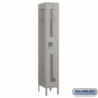 "12"" Vented Metal Locker - Single Tier - 1 Wide - 6 Feet High - 15 Inches Deep - Gray, Tan or Blue"