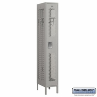 "12"" Vented Metal Locker - Single Tier - 1 Wide - 6 Feet High - 18 Inches Deep - Gray, Tan or Blue"