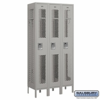 "12"" Vented Metal Locker - Single Tier - 3 Wide - 6 Feet High - 15 Inches Deep - Gray, Tan or Blue"