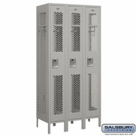 "12"" Vented Metal Locker - Single Tier - 3 Wide - 6 Feet High - 18 Inches Deep - Gray, Tan or Blue"