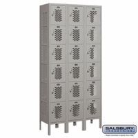 "12"" Vented Metal Locker - Six Tier Box Style - 3 Wide - 6 Feet High - 12 Inches Deep - Gray, Tan or Blue"
