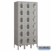 "12"" Vented Metal Locker - Six Tier Box Style - 3 Wide - 6 Feet High - 15 Inches Deep - Gray, Tan or Blue"