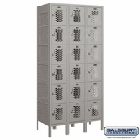 "12"" Vented Metal Locker - Six Tier Box Style - 3 Wide - 6 Feet High - 18 Inches Deep - Gray, Tan or Blue"