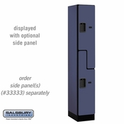 "Designer Wood Locker - Double Tier ""S"" Style - 1 Wide - 6 Feet High - 18 or 21 Inches Deep - Blue"