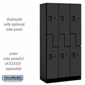 "Designer Wood Locker - Double Tier ""S"" Style - 3 Wide - 6 Feet High - 18 or 21 Inches Deep - Black"