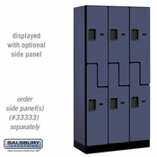 "Designer Wood Locker - Double Tier ""S"" Style - 3 Wide - 6 Feet High - 18 or 21 Inches Deep - Blue"