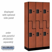 "Designer Wood Locker - Double Tier ""S"" Style - 3 Wide - 6 Feet High - 18 or 21 Inches Deep - Cherry"