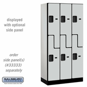 "Designer Wood Locker - Double Tier ""S"" Style - 3 Wide - 6 Feet High - 18 or 21 Inches Deep - Gray"