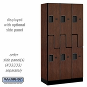 "Designer Wood Locker - Double Tier ""S"" Style - 3 Wide - 6 Feet High - 18 or 21 Inches Deep - Mahogany"