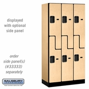 "Designer Wood Locker - Double Tier ""S"" Style - 3 Wide - 6 Feet High - 18 or 21 Inches Deep - Maple"
