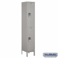 "Extra Wide 15"" Standard Metal Locker - Double Tier - 1 Wide - 6 Feet High - 15 Inches Deep - Gray, Tan or Blue"