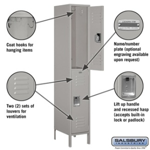 "Extra Wide 15"" Standard Metal Locker - Double Tier - 1 Wide - 6 Feet High - 18 Inches Deep - Gray, Tan or Blue"