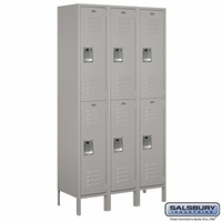 "Extra Wide 15"" Standard Metal Locker - Double Tier - 3 Wide - 6 Feet High - 15 Inches Deep - Gray, Tan or Blue"