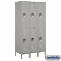 "Extra Wide 15"" Standard Metal Locker - Double Tier - 3 Wide - 6 Feet High - 18 Inches Deep - Gray, Tan or Blue"