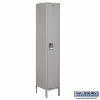"Extra Wide 15"" Standard Metal Locker - Single Tier - 1 Wide - 6 Feet High - 18 Inches Deep - Gray, Tan or Blue"