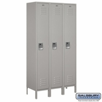 "Extra Wide 15"" Standard Metal Locker - Single Tier - 3 Wide - 6 Feet High - 15 Inches Deep - Gray, Tan or Blue"
