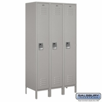 "Extra Wide 15"" Standard Metal Locker - Single Tier - 3 Wide - 6 Feet High - 18 Inches Deep - Gray, Tan or Blue"
