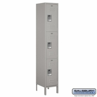 "Extra Wide 15"" Standard Metal Locker - Triple Tier - 1 Wide - 6 Feet High - 15 Inches Deep - Gray, Tan or Blue"